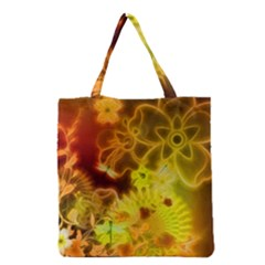 Glowing Colorful Flowers Grocery Tote Bags