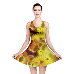 Glowing Colorful Flowers Reversible Skater Dresses