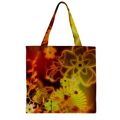 Glowing Colorful Flowers Zipper Grocery Tote Bags