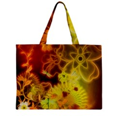 Glowing Colorful Flowers Zipper Tiny Tote Bags