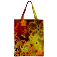 Glowing Colorful Flowers Zipper Classic Tote Bags