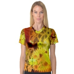 Glowing Colorful Flowers Women s V Neck Sport Mesh Tee