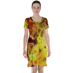 Glowing Colorful Flowers Short Sleeve Nightdresses