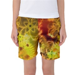 Glowing Colorful Flowers Women s Basketball Shorts