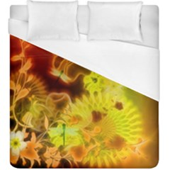 Glowing Colorful Flowers Duvet Cover Single Side (kingsize)