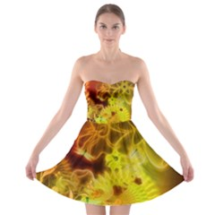 Glowing Colorful Flowers Strapless Bra Top Dress