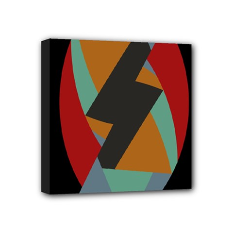 Fractal Design In Red, Soft Turquoise, Camel On Black Mini Canvas 4  X 4