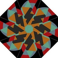 Fractal Design in Red, Soft-Turquoise, Camel on Black Folding Umbrellas