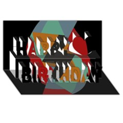 Fractal Design In Red, Soft Turquoise, Camel On Black Happy Birthday 3d Greeting Card (8x4)