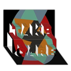 Fractal Design In Red, Soft Turquoise, Camel On Black Take Care 3d Greeting Card (7x5)