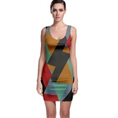 Fractal Design in Red, Soft-Turquoise, Camel on Black Bodycon Dresses