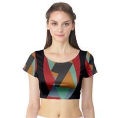 Fractal Design in Red, Soft-Turquoise, Camel on Black Short Sleeve Crop Top