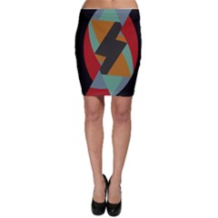 Fractal Design In Red, Soft Turquoise, Camel On Black Bodycon Skirts