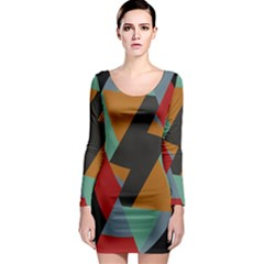 Fractal Design In Red, Soft Turquoise, Camel On Black Long Sleeve Bodycon Dresses