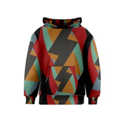 Fractal Design in Red, Soft-Turquoise, Camel on Black Kid s Pullover Hoodies