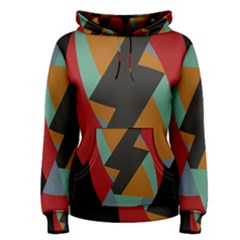 Fractal Design in Red, Soft-Turquoise, Camel on Black Women s Pullover Hoodies