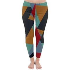 Fractal Design In Red, Soft Turquoise, Camel On Black Winter Leggings
