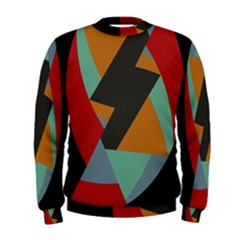Fractal Design in Red, Soft-Turquoise, Camel on Black Men s Sweatshirts