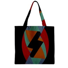 Fractal Design in Red, Soft-Turquoise, Camel on Black Zipper Grocery Tote Bags