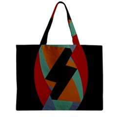 Fractal Design in Red, Soft-Turquoise, Camel on Black Zipper Tiny Tote Bags