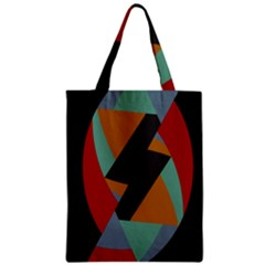 Fractal Design in Red, Soft-Turquoise, Camel on Black Zipper Classic Tote Bags