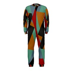 Fractal Design In Red, Soft Turquoise, Camel On Black Onepiece Jumpsuit (kids)