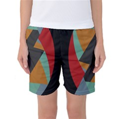Fractal Design in Red, Soft-Turquoise, Camel on Black Women s Basketball Shorts