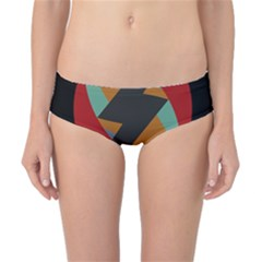 Fractal Design in Red, Soft-Turquoise, Camel on Black Classic Bikini Bottoms