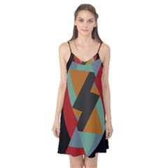 Fractal Design in Red, Soft-Turquoise, Camel on Black Camis Nightgown