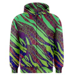 Florescent Zebra Print Pattern  Men s Zipper Hoodies