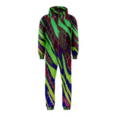 Florescent Zebra Print Pattern  Hooded Jumpsuit (Kids)