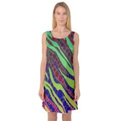 Florescent Zebra Print Pattern  Sleeveless Satin Nightdresses