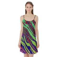 Florescent Zebra Print Pattern  Satin Night Slip