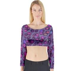 Purple Cheetah Pattern  Long Sleeve Crop Top