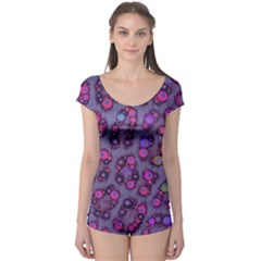 Purple Cheetah Pattern  Short Sleeve Leotard