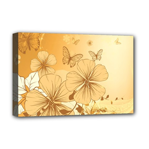 Wonderful Flowers With Butterflies Deluxe Canvas 18  x 12