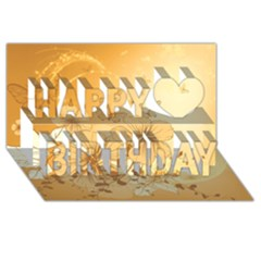 Wonderful Flowers With Butterflies Happy Birthday 3D Greeting Card (8x4)