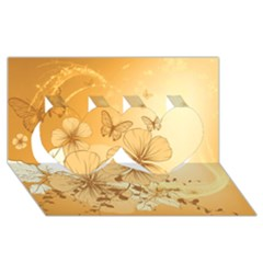 Wonderful Flowers With Butterflies Twin Hearts 3D Greeting Card (8x4)