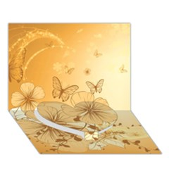Wonderful Flowers With Butterflies Heart Bottom 3d Greeting Card (7x5)