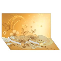 Wonderful Flowers With Butterflies Twin Heart Bottom 3D Greeting Card (8x4)