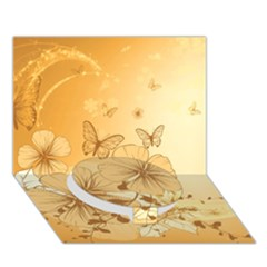 Wonderful Flowers With Butterflies Circle Bottom 3D Greeting Card (7x5)