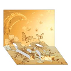 Wonderful Flowers With Butterflies Love Bottom 3d Greeting Card (7x5)