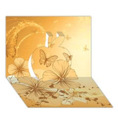Wonderful Flowers With Butterflies Apple 3D Greeting Card (7x5)