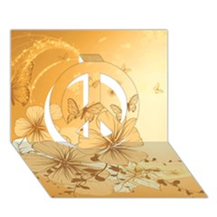 Wonderful Flowers With Butterflies Peace Sign 3d Greeting Card (7x5)