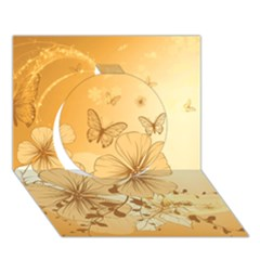 Wonderful Flowers With Butterflies Circle 3D Greeting Card (7x5)