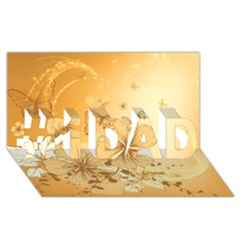 Wonderful Flowers With Butterflies #1 DAD 3D Greeting Card (8x4)