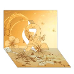 Wonderful Flowers With Butterflies Ribbon 3D Greeting Card (7x5)