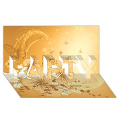 Wonderful Flowers With Butterflies Party 3d Greeting Card (8x4)