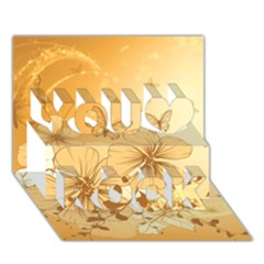 Wonderful Flowers With Butterflies You Rock 3d Greeting Card (7x5)