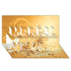 Wonderful Flowers With Butterflies Merry Xmas 3D Greeting Card (8x4)
